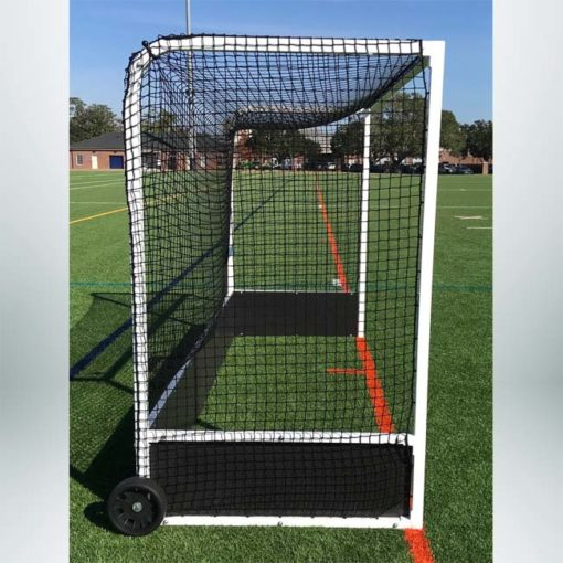 Model #FHG2AL712. Standard field hockey goal side view.