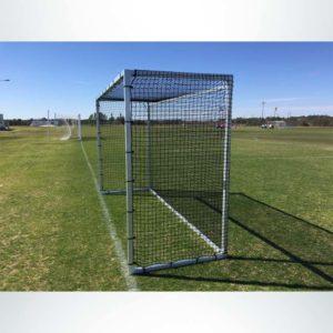 Model #FHGBAL712. 7' x 12' budget field hockey goal side view.