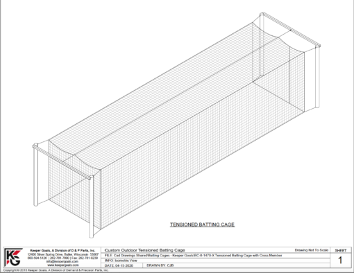 "Model #KGBC70144P8DBSINGLE. Premium batting cage with 8"" posts."