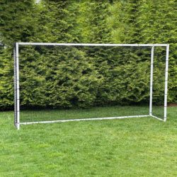 Model #PSGE2AL815CUSTOMPC. 8' x 15' aluminum backyard soccer goal with bungee net attachment.