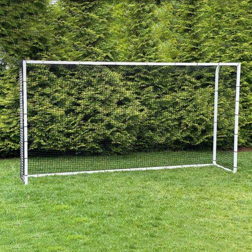 Model #PSGE2AL815CUSTOMPC. 8' x 15' aluminum backyard soccer goal with bungee net attachment.