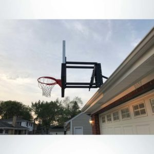 Roofmaster roof mount basketball hoop side view.