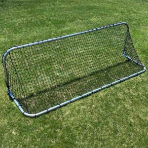 "Model #KGSTRD2592. 2'6"" x 9' small steel budget soccer goal. Bare aluminum with bungee net attachment."