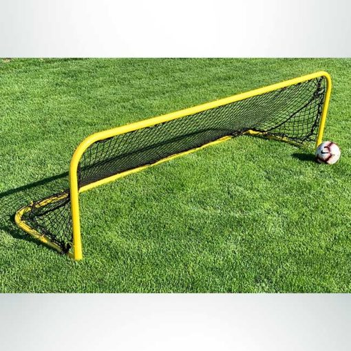 "Model #KGSTRD2592PCCB. 2'6"" x 9' small steel budget soccer goal. Powder coated yellow with cable net attachment."