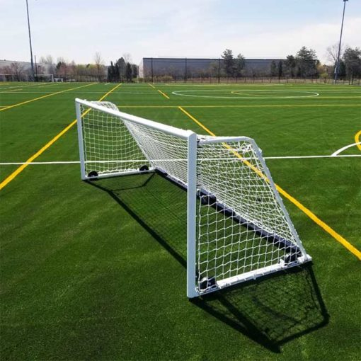 "Model #M88WRD466186. 6'6"" x 18'6"" wheeled soccer goal with white net."