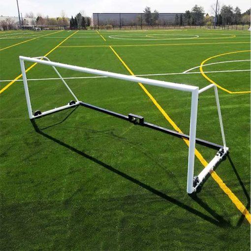 "Model #M88WRD466186. 6'6"" x 18'6"" wheeled soccer goal."