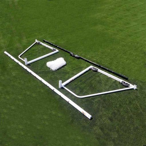 "Model #M88WRD466186. 6'6"" x 18'6"" pre-assembley wheeled soccer goal."