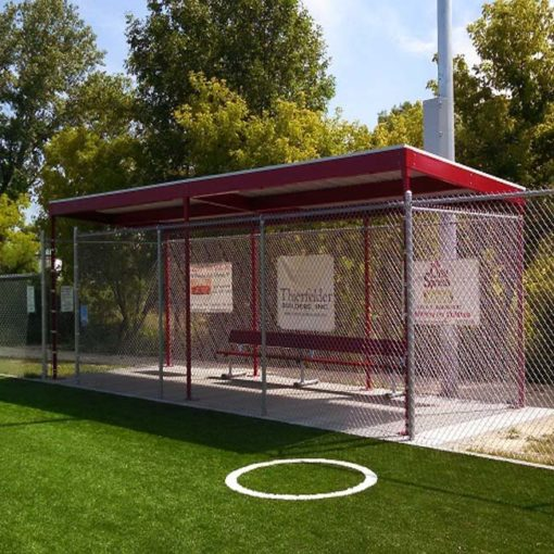 Model #DG1030. 10' x 30' World Series dugout powder coated red.