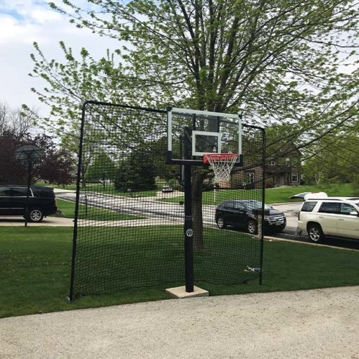 Model #BFFITSTEPINBL10. Basketball backstop net. 10' high x 12' wide.