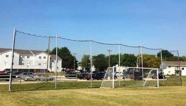 Model ##KGFSBACKAL47B42090. Movable Backstop Net for Soccer Field.