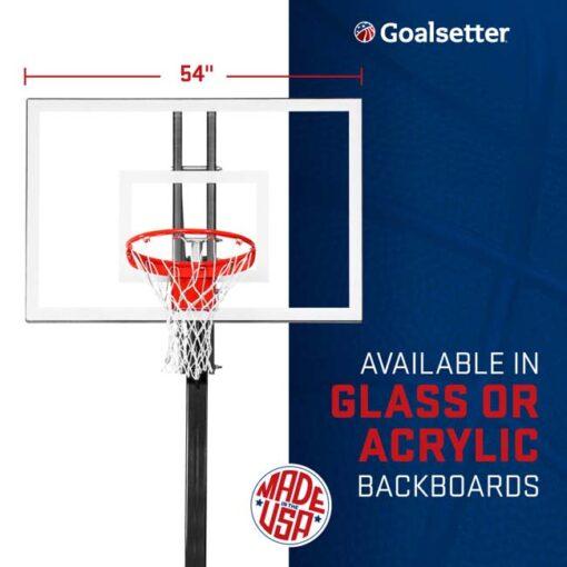 Model #ELITEPLUS. Goalsetter Elite Plus inground basketball system. Available in glass or acrylic backboard.