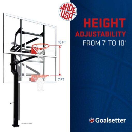 Model #ELITEPLUS. Goalsetter Elite Plus inground basketball system. Height adjustable.
