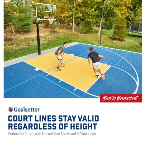 Model #GSLAUNCHPRO. Goalsetter Launchpro basketball system. Court lines stay valid regardless of hoop height.