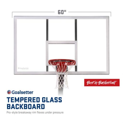 Model #GSLAUNCHPRO. Goalsetter Launchpro basketball hoop tempered glass backboard.