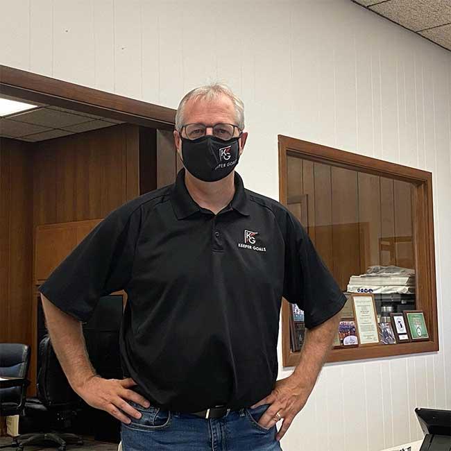 Keeper Goals CEO John Moynihan wearing custom mask with Keeper Goals logo