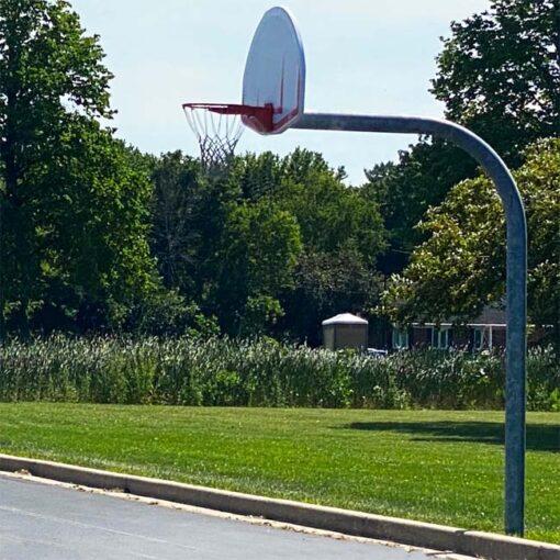 "Model #KG600SSUR. Gooseneck basketball pole with 6' overhang and 5' 9/16"" pole."