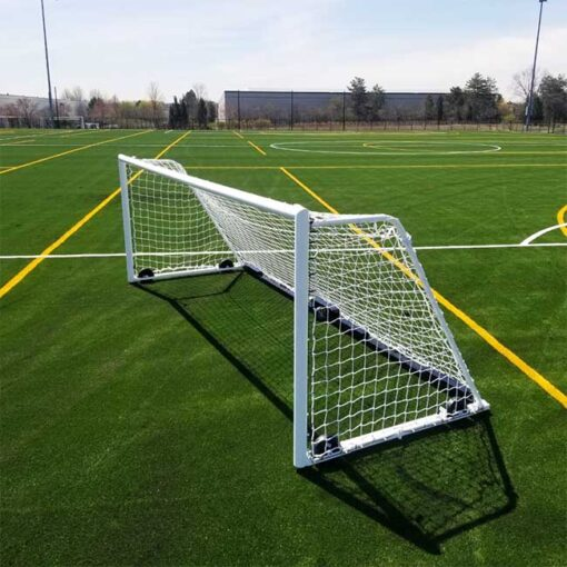 Model #M88WRD466186. Wheeled soccer goals with white net.