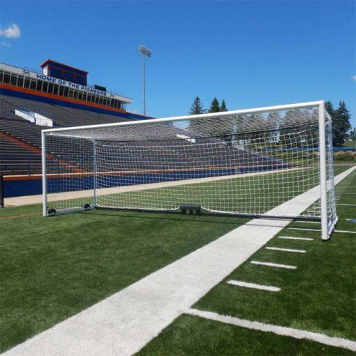 Model #M88WRD4BOX. Stadium style soccer goal.