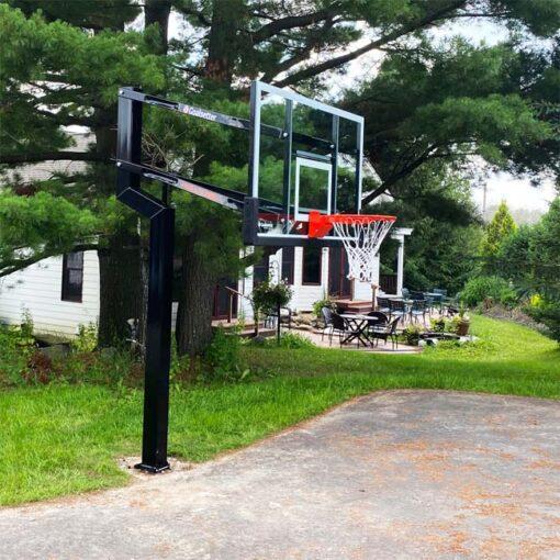 Model #MVPINGLASS. Goalsetter MVP in-ground adjustable hoop.