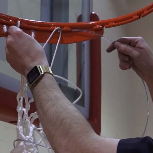 Model #BA35E. Hideaway net on the Bison Elite Plus breakaway basketball goal.