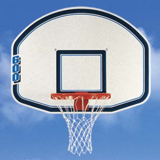 "Model #BA600. Bsion 48"" fan-shaped molded graphite backboard with blue graphics."