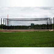Double modular steel batting cage.