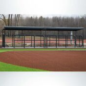 Dugout railing with pad.