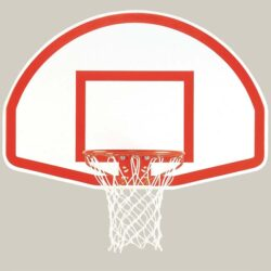 "Model #KG475SS. Bison 54"" fan-shaped basketball backboard with shooters square."