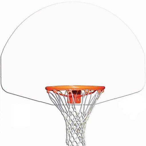 """Model #KG475W. Gared 54"""" fan-shaped white basketball backboard."""