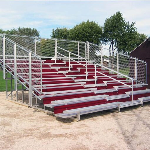 Model #B10R19GR. 10 row bleachers with aisle and red risers.