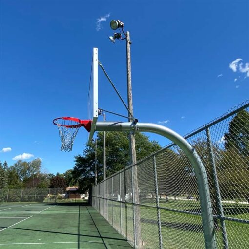 "Model #KG690. Galvanized Gooseneck basketball pole with 72"" backboard and 6' overhang."