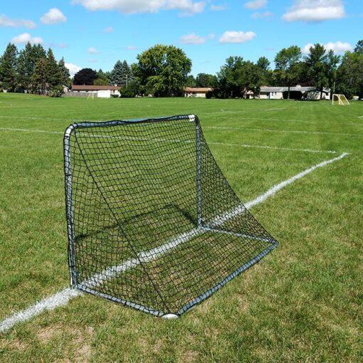 """Model #KGSTRD462. 4' x 6' budget steel soccer goal with 2"""" mesh net. Back view."""