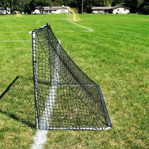 "Model #KGSTRD462. 4' x 6' budget steel soccer goal with 2"" mesh net. Side view."