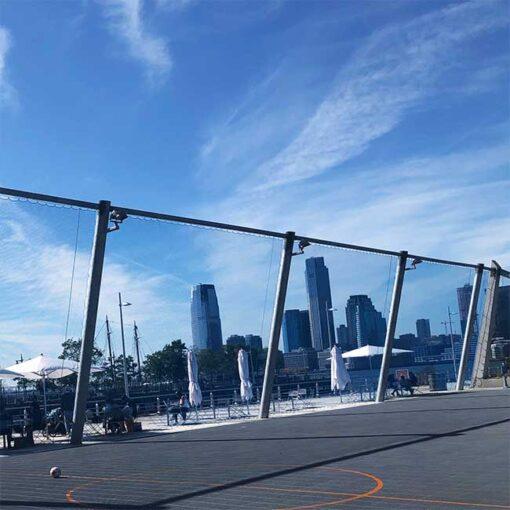 Pier 26 Chicago. Permanent barrier net on pier.