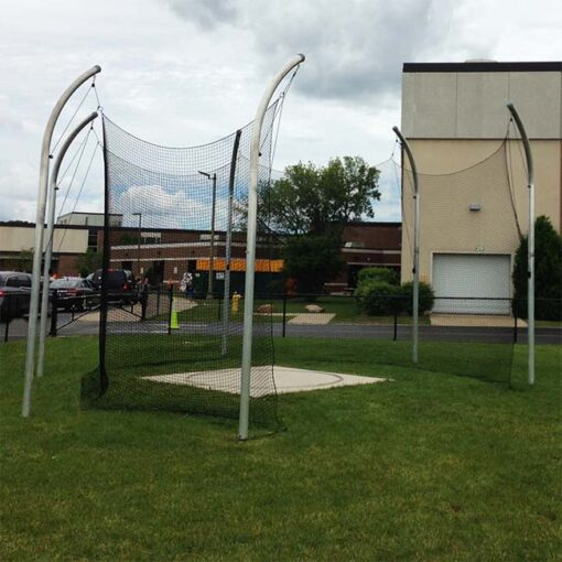 Model #KGDCHS146AL. High school discus cage with aluminum posts.