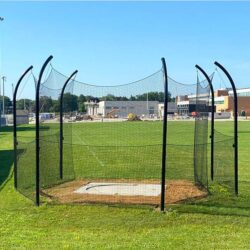 Model #KGDCHS146ST. Deluxe high school discus cage with steel posts.