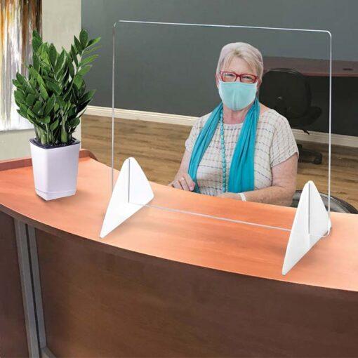 Model #SQ2036. Plastic protective barrier for desk.