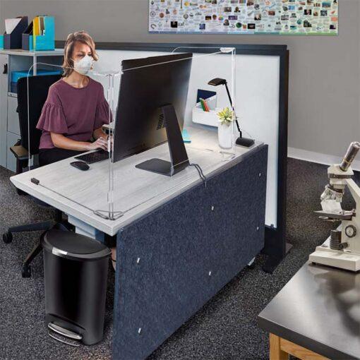 Model #SQ2057B. Plastic protective barrier for desk.