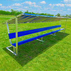 Covered athletic team bench. Royal blue bench seat and bench cover.