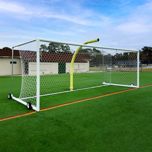 """Stadium style box soccer goal with wheels. Made from 4"""" round aluminum."""