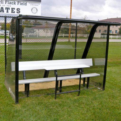 Model #PPS8. Deluxe Standard Style sideline shelter. Black with aluminum scorers table. Aluminum Bench.